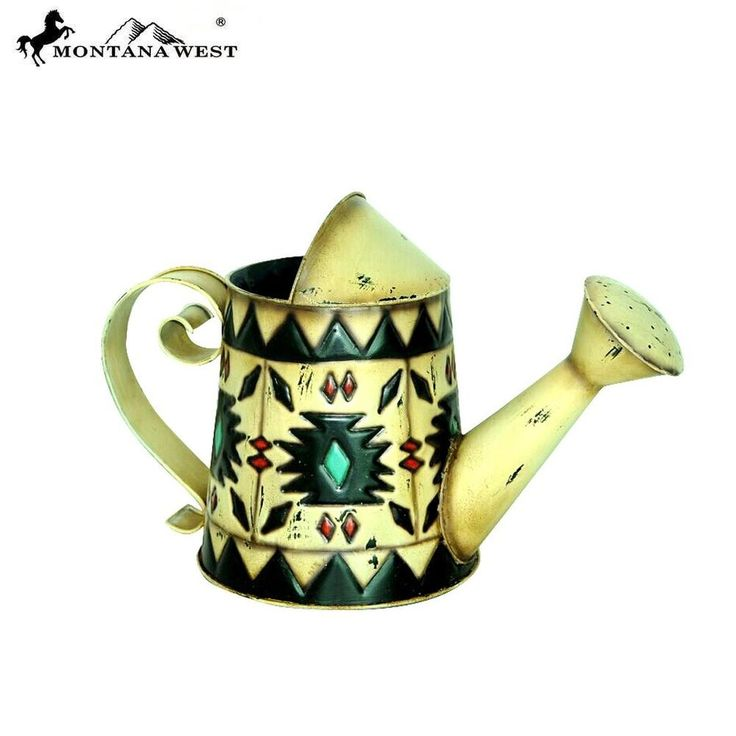 New Montana West Aztec Metal Watering Can Rustic Decor Cream Southwestern Style #Unbranded