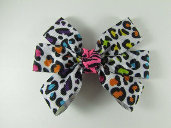 Rainbow Cheetah Print Hair Bow Neon Animal Print Hair Clip by EmmysHairClippies $4.00
