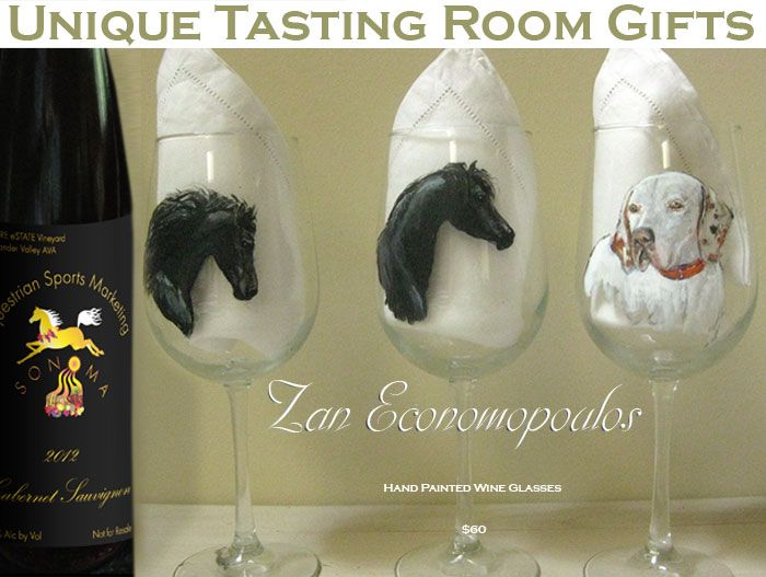 Zan Economopoulos hand painted wine glasses by this expert animal painter! Her work is so expressive!