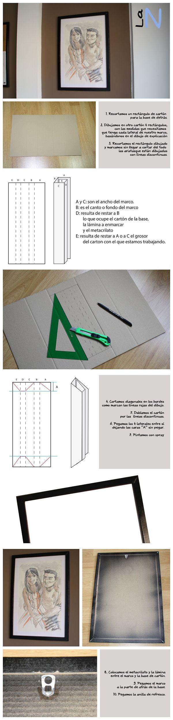 Marco de cartón para lámina con medidas no standard. http://laneuronadelmanitas.blogspot.com.es/2013/06/marco-de-carton-reciclado.html