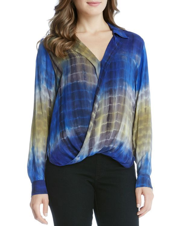Karen Kane Tie Dye Crossover Blouse