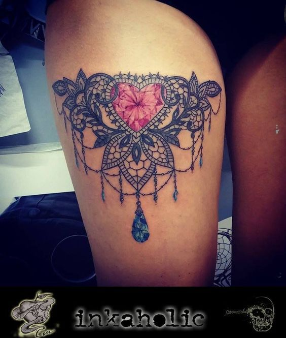 tattoo inspo s lace tattoos diamond tattoos thigh tattoo heart tattoos ...