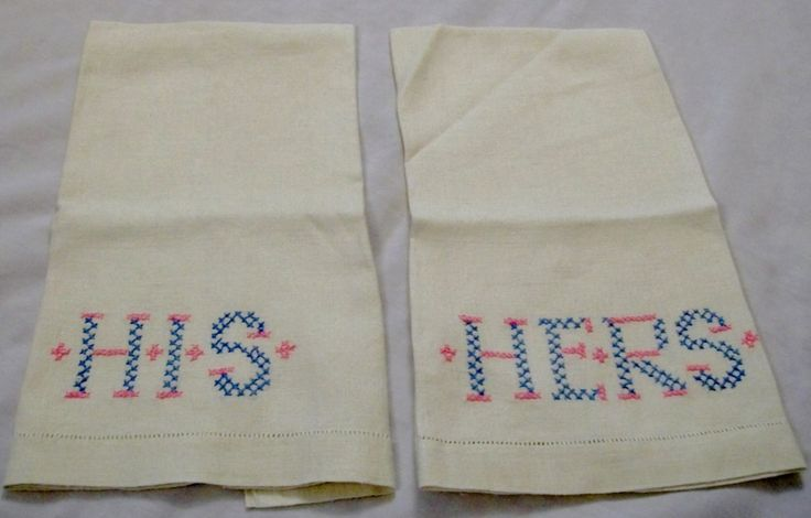 His and Her Towels, Vintage His and Hers Towels, Vintage Linen His And Her Towels - pinned by pin4etsy.com