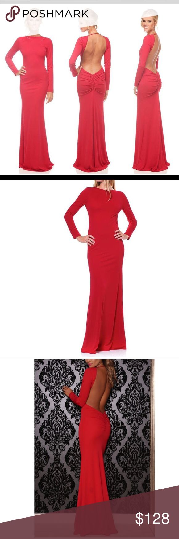 RED - Gorgeous Evening Gown - MED NWT -- RED DRESS. Absolutely gorgeous and sophisticated long sleeve, backless, ruched bottom detail gown by celebrity designer Abyss by Abby. Dress is called Saba. Perfect for the holidays. Compliments curves beautifully.   measurements:  waist: 26 in hips: 34 in total length:  approx: 61 in. dress has 1-3 inch stretch allowance. Abyss By Abby Dresses Backless