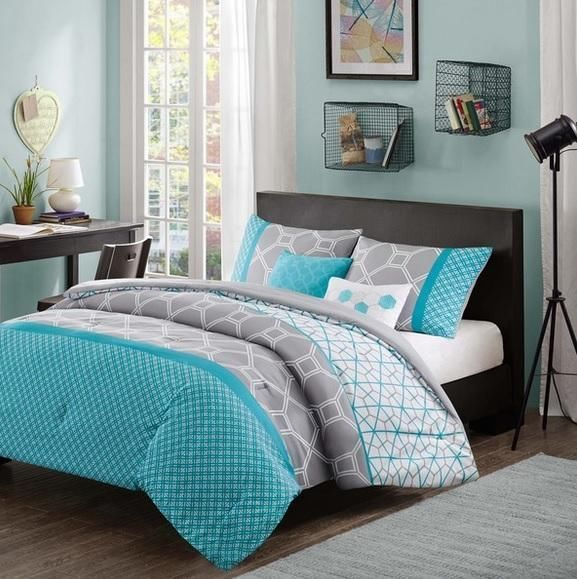 girls teen aqua blue gray white hexagon geometric comforter bed set