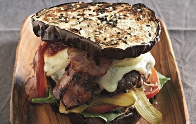 "Banting-friendly burger on aubergine ""bun"" with BBQ sauce."
