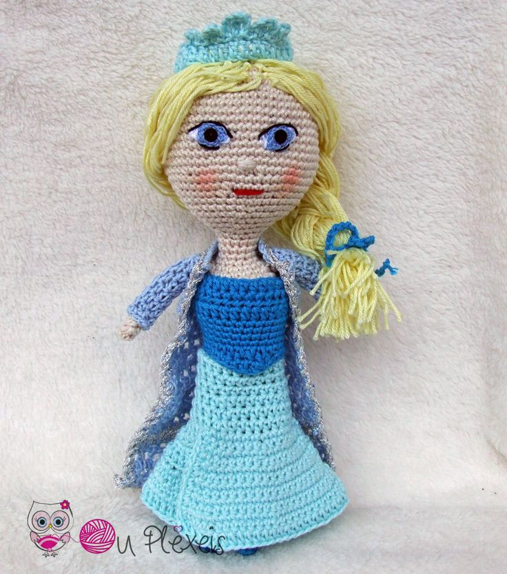 Elsa Doll Amigurumi, Crochet Stuffed Doll, Kids Toy, Nursery Toy, Little Doll Plush Amigurumi, Baby Girl Toy, Elsa Frozen Doll by Ouplexeis on Etsy