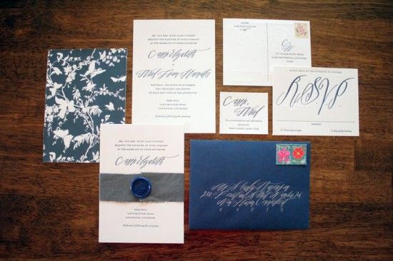 Cassie + Ariel's Navy and White Calligraphy Letterpress Wedding Invitations | Parrott Design Studio | Calligraphy: Betsy Dunlap