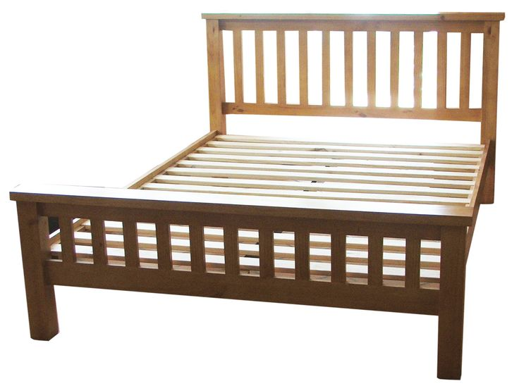 Country Pine 4ft 6in Double Bed, Solid Pine, Pine Slats With A Center  Support