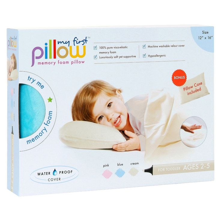 """My First Pillow Memory Foam with Free Pillowcase Toddler - Blue (12""""x16"""")"""