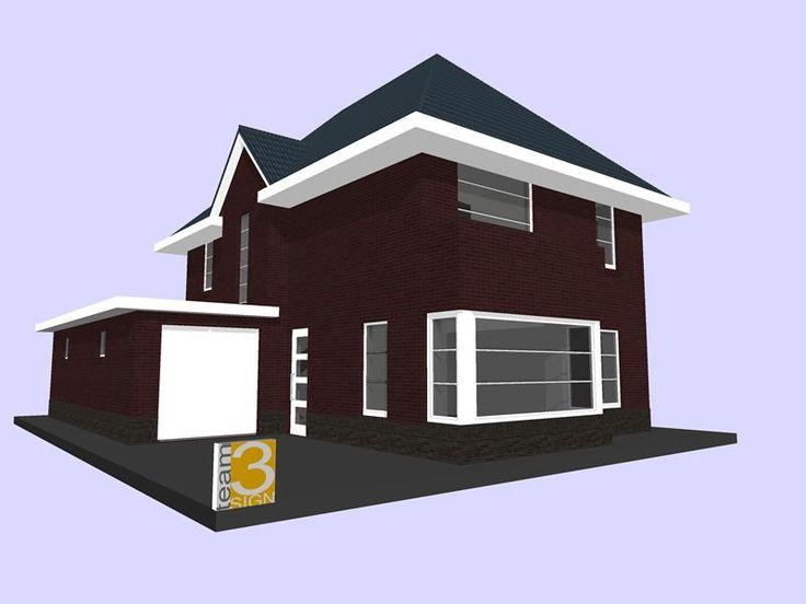 Jaren 30 woning met garage bouw design tekening