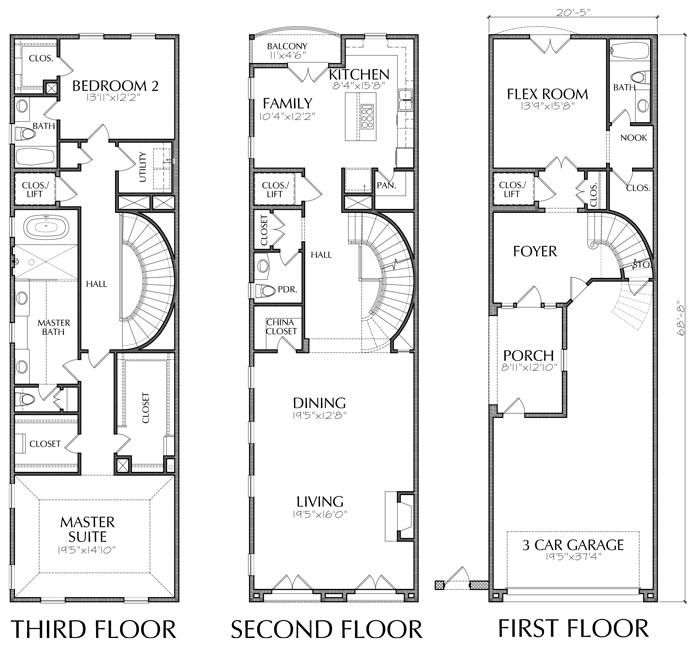 Three Story Townhouse Plan E1149 A Condo Floor Plans House Floor Plans Floor Plans