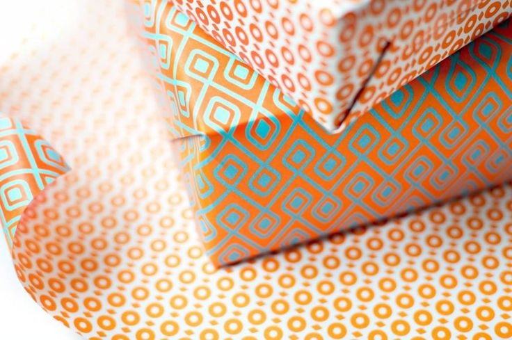 Eva&Anne Dubbelzijdig cadeaupapier - oranje/turquoise/wit