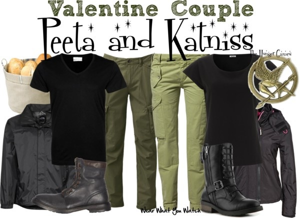 Inspired by Josh Hutcherson and Jennifer Lawrence as Peeta Mellark and Katniss Everdeen in the Hunger Games.