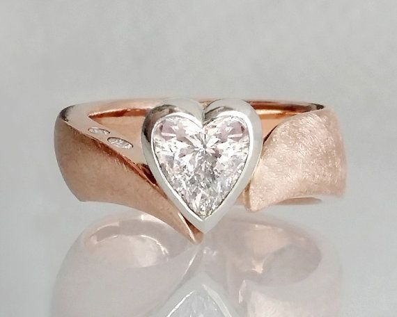 Unique diamond engagement ring, 14K rose and white gold,  heart shaped diamond, 1ct (sold separately), melee diamonds on Etsy, $950.00