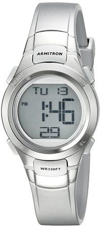 Armitron Sport Women's 45/7012SIL Digital Chronograph Silver-Tone Resin Strap Watch: Watches