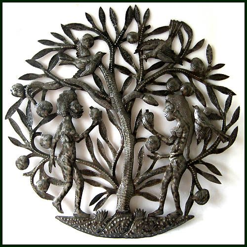"""Can I Offer You an Apple? - Adam and Eve - Haitian Wall Decor Wall Sculpture - 24""""  - View a beautiful selection on  hand crafted metal art created from recycled steel oil drums at www.HaitiMetalArt.com"""
