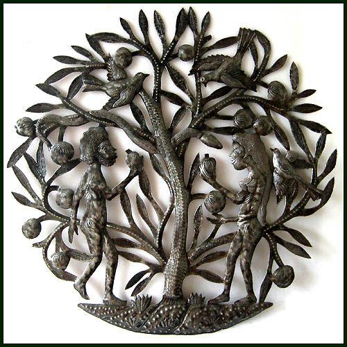 "Can I Offer You an Apple? - Adam and Eve Bible Scene  - Haitian Wall Decor Wall Sculpture - 24"" - $84.95 - Steel Drum Metal Art from  Haiti - Interior Decor or Garden Décor   * Found at  www.HaitiMetalArt.com"