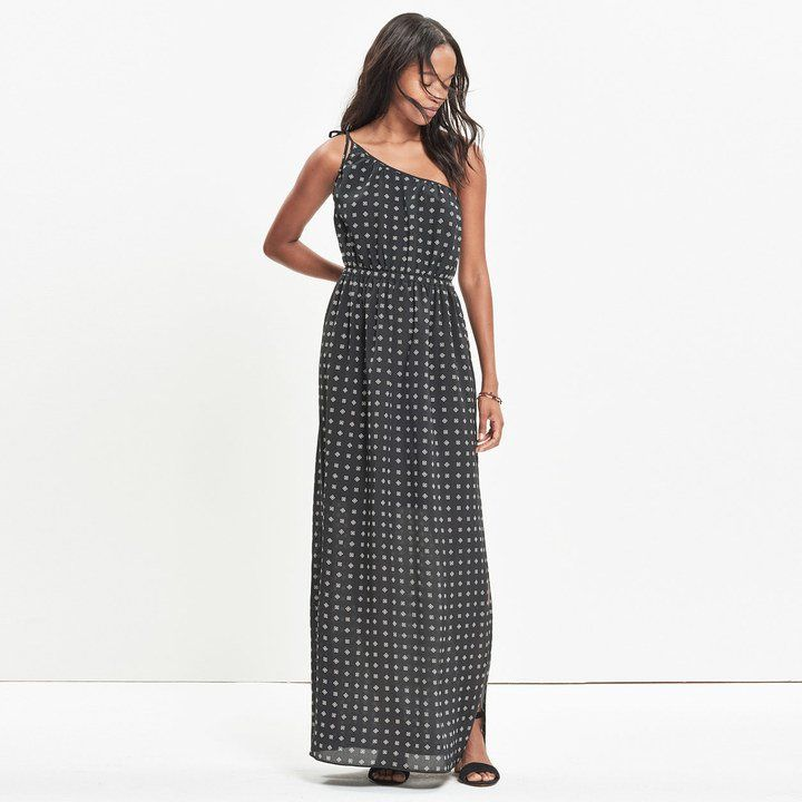 Pin for Later: The Most Stylish Wedding Guest Dresses — at Every Price Point  Madewell Silk Tie-Shoulder Maxi Dress in Scatterblock ($198)