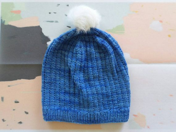 Luxury merino slouchy beanie,  hand knitted from electric blue New Zealand wool with upcycled fur pompom