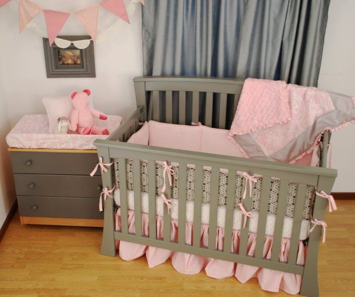 Pink And Charcoal Grey Crib Bedding Pink In The Nursery