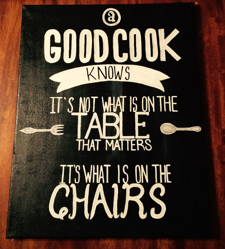 16x20 acrylic on canvas, a good cook knows..., quotes, black and white