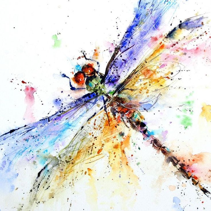 Watercolour drips dragonfly painting
