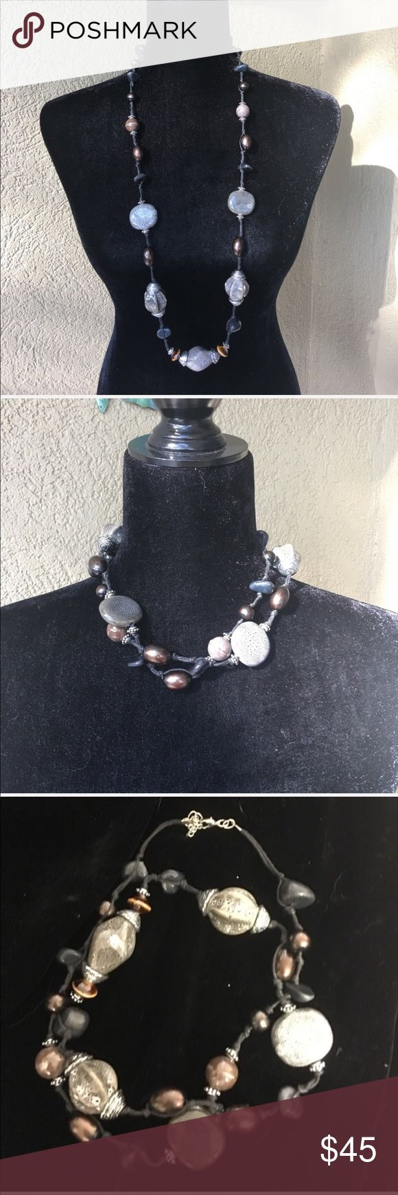 🆕 PD Grey & brown stone look necklace Premier Designs Grey & brown stone look necklace- can be worn multiple ways by wrapping it.   ✅I ship same or next day ✅Bundle for discount Premier Designs Jewelry Necklaces
