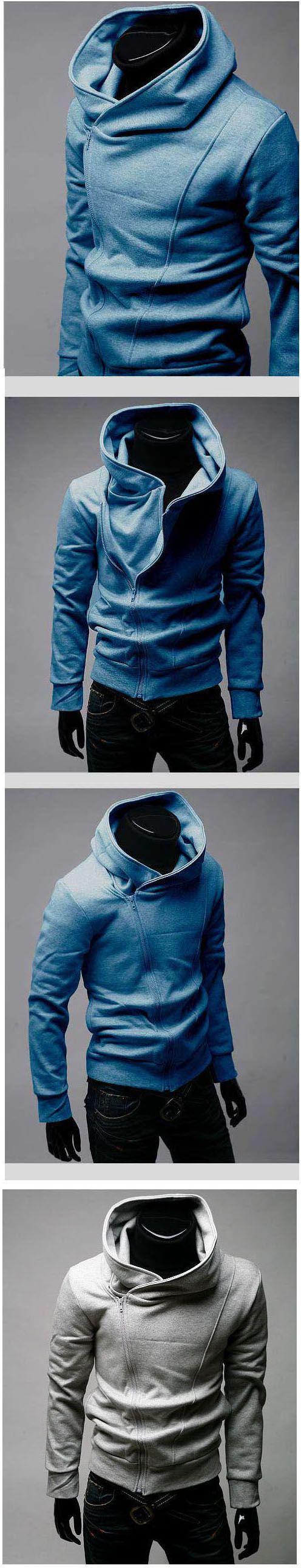 $17.61  #MensJacketsCoats Stylish Cotton Blends Solid Zipper Hooded Men Sweatshirt Discount Online Shopping