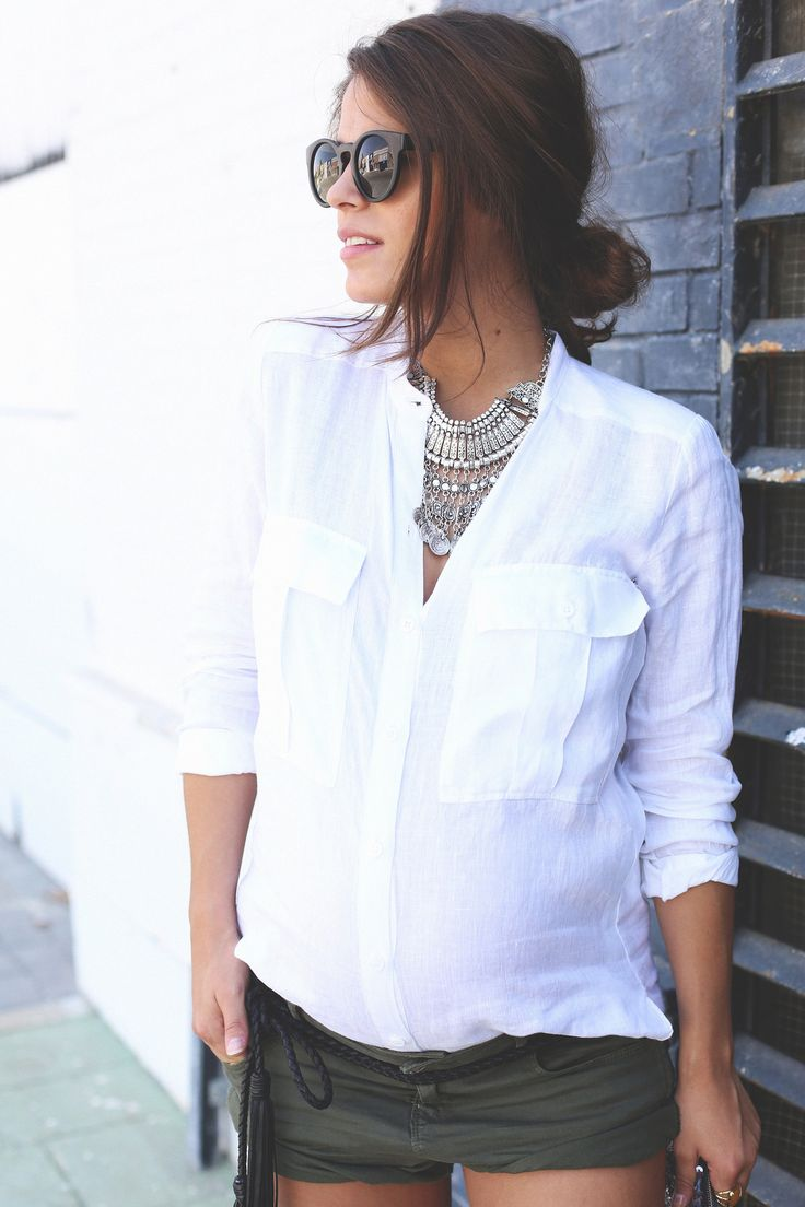 12. white linen shirt khaki shorts wedges shoes - jessie chanes - pregnancy