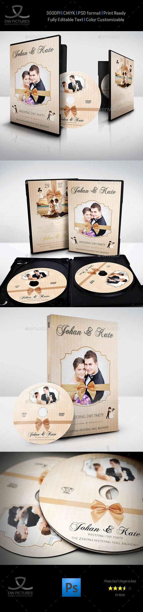 Wedding DVD Cover and DVD Label Template Vol.5 — Photoshop PSD #engagement #wedding dvds • Available here → https://graphicriver.net/item/wedding-dvd-cover-and-dvd-label-template-vol5/10000065?ref=pxcr