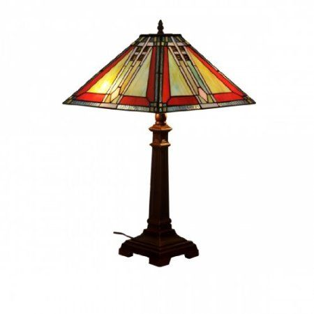 "Mari Traditional Art Deco Tiffany Style Stained Glass Table Lamp 16"" Shade: Amazon.co.uk: Lighting"