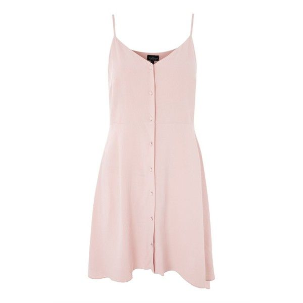 Topshop Petite Button Front Mini Dress (140 SAR) ❤ liked on Polyvore featuring dresses, pale pink, button dress, basic t shirt, basic tee shirts, petite dresses and short dresses