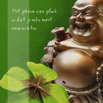 Spirituele kaart met lachende geluksboeddha. Te vinden op: www.kaartje2go.nl/spirituele-kaarten