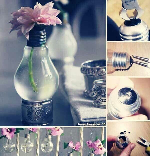 Turn your broken lightbulbs into pretty flower vases for around the house! #gogreen #green #crafts