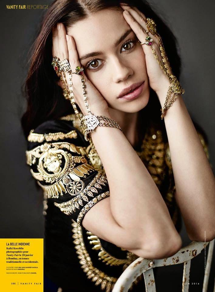 Kalki Koechlin in French Vanity Fair - Abu Jani Sandeep Khosla - Vintage Indian Glamour - Vintage Indian Bride - Bridal Hand Jewellery - Indian bracelet #thecrimsonbride