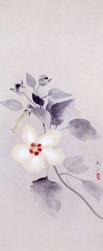 White Hibiscus mutabilis, Hayami Gyoshū / 速水 御舟. Japanese (1894 - 1935) Yamatane Museum