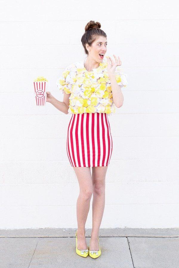 DIY Popcorn Kostüm selber machen zum Karneval