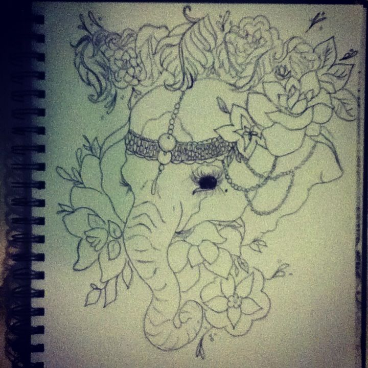 Elephant Headdress Drawing Beautiful With Flowers And A Head