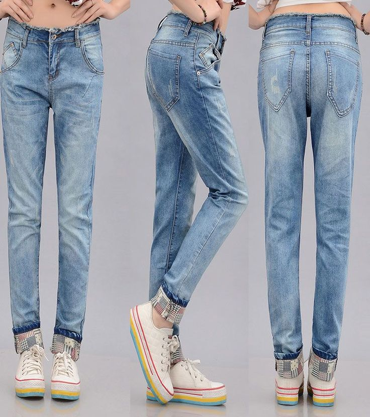Latest Styles Worn Out Patchwork Turn-ups Pocket Jeans