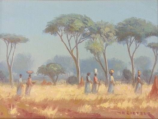 S2872 W. H Coetzer Gathering wood 20cmx20cm Oil on Canvas pasted on Board
