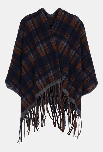 Knitted poncho navy w check 135 cm - Stoff & Stil