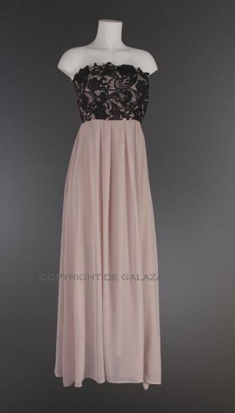 Beige lange jurk met zwarte kanten top en elastiek 3221