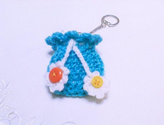 Crochet mini bag keychain drawstring bag flower by HandmadeTrend, $8.00