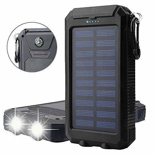 20000mAh Solar Power Bank Solar Charger Waterproof Portable External Battery USB Charger Built in LED light with Compass for iPad iPhone Android Cellphones, 5 Colors Avaliable http://topcellulardeals.com/product/20000mah-solar-power-bank-solar-charger-waterproof-portable-external-battery-usb-charger-built-in-led-light-with-compass-for-ipad-iphone-android-cellphones-5-colors-avaliable/?attribute_pa_color=black High Capacity: Built-in 20000mAh high capacity polymer battery eq