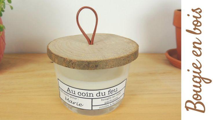 Fabriquer une bougie 100% naturelle avec de la cire de soja, une mèche en bois et un joli couvercle en bois avec lanière en simili cuir. Tuto facile en vidéo pour une bougie fait maison