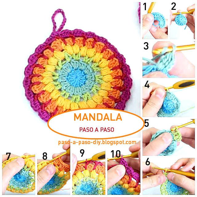 Aprende a tejer una bonita mandala al crochet, paso a paso con explicaciones en español. Fácil y bi...