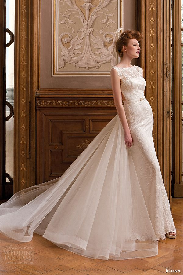 jillian 2015 #wedding dress sleeveless bateau sheer neckline lace sheath #bridal gown watteau train #weddingdress #weddings #sposa