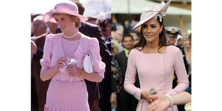Diana wearing Catherine Walker in Sicily during the Royal Tour of Italy in April 1985; Kate in Emilia Wickstead at a garden party at Buckingham Palace in May 2012.   - HarpersBAZAAR.com