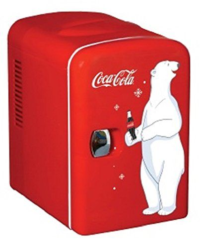 Cool Coca-Cola mini fridge idea for a college dorm room. This would make a great graduation gift. I swear some students live off Coke.  Different than the plain jane boring brown refrigerators.